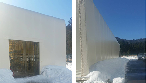 多雪地区対応のテント倉庫
